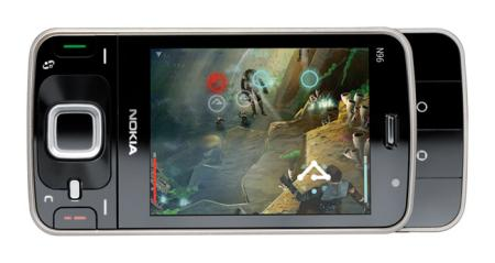 Nokia N96 mobile phone showing 3D game