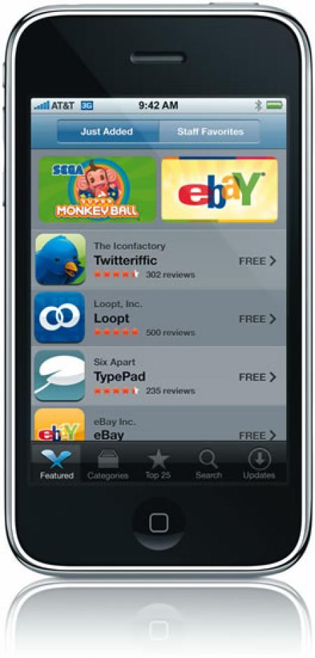 Apple iPhone 3G with an eBay app