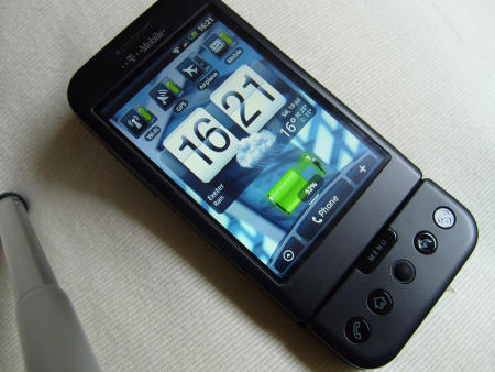 T-Mobile G1 with HTC Hero interface showing home page