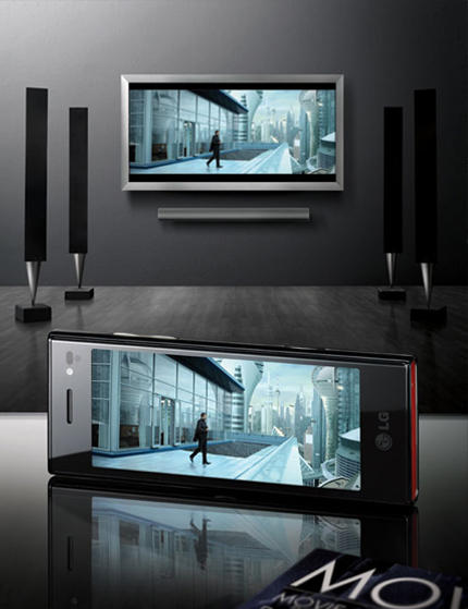 LG BL40 Chocolate phone connected to TV