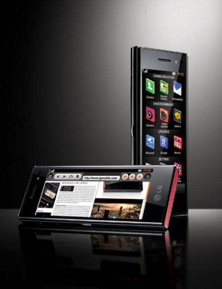 LG BL40 Chocolate phone showing Web browser