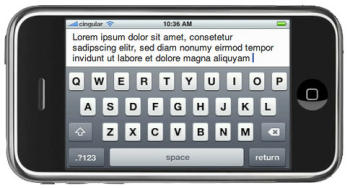 iPhone virtual keyboard