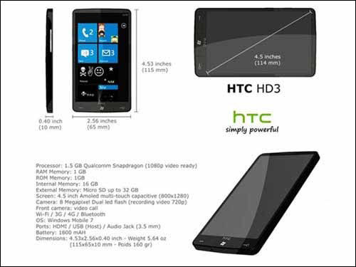 HTC HD3 Specifications