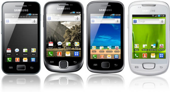 Samsung Galaxy Ace, fit, Gio and Mini