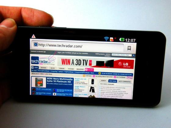 LG Optimus 2X showing Web browser