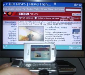 Nokia N93 hooked up to the TV