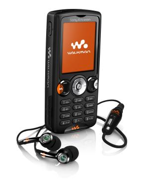 Sony Ericsson W810i mobile phone with earphones
