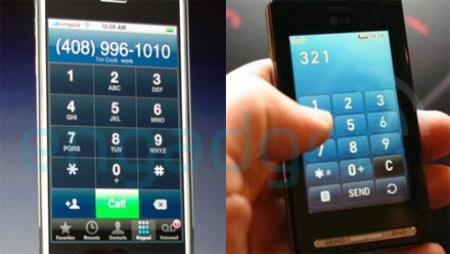 Apple iPhone and LG KE850 mobile phone comparison
