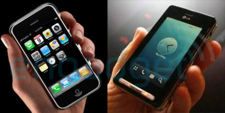 Apple iPhone and LG K850 Prada mobile phones showing similar interfaces