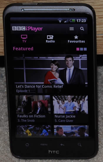 HTC Desire HD with BBC iPlayer app