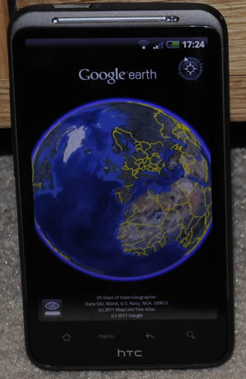 HTC Desire HD with Google Earth app