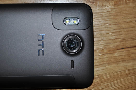 HTC Desire HD smartphone showing camera